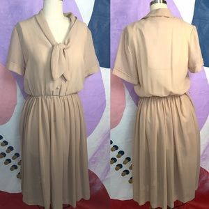VINTAGE 80s does 40s Sailor Tie Bow Nude Tan Dress